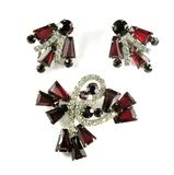 DeLizza and Elster Juliana Red Keystone Crystal Rhinestone Brooch and Earrings
