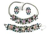 DeLizza and Elster Juliana Heliotrope Rhinestone Necklace, Bracelet and Earrings