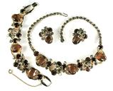 DeLizza and Elster Juliana Topaz and Black Diamond Rhinestone Necklace, Bracelet and Earrings Parure