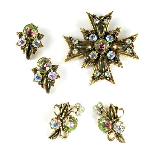 Florenza Maltese cross brooch and earrings